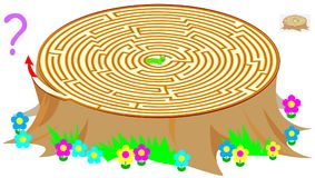 Logic puzzle game with labyrinth for children and adults. Help the worm find the way out of the stump. Vector cartoon image. Scale to any size without loss of Stock Photography