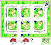 Logic puzzle game with labyrinth. Find the way till petrol station and turn back respecting traffic signs. U-turns are prohibited. Vector cartoon image. Scale Royalty Free Stock Images
