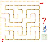 Logic puzzle game with labyrinth. Need to remove one matchstick and find the way from start till end. Vector cartoon image. Scale to any size without loss of Stock Photos