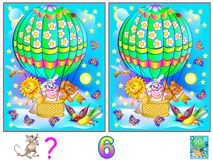 Logic puzzle game for young children. Need to find six differences. Vector cartoon image. Scale to any size without loss of resolution Royalty Free Stock Photos
