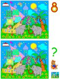 Logic puzzle game for young children. Need to find 8 differences. Vector cartoon image. Scale to any size without loss of resolution Royalty Free Stock Images
