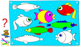Logic puzzle game for young children. Need to find a pair of each fish and paint it in corresponding colors. Vector cartoon image. Scale to any size without Stock Photos