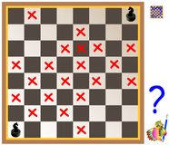 Logic puzzle with labyrinth. Need to find way from the first chess knight till the second. Forbidden to step on the red crosses. Vector cartoon image. Scale to Royalty Free Stock Image