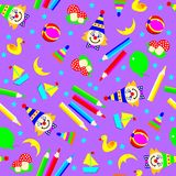 Seamless pattern ornament with funny scattered toys. Stock Images