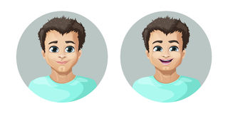 Vector cartoon image of a set of guy with brown hair expressing various facial emotions: joy and happiness. On a white background. Emotion, face, avatar. Vector Royalty Free Stock Images