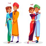 Vector cartoon indian couples hugging. Expressing love, togetherness set. Happy men, women in ethnic clothing standing together smiling. Husbands and wifes in stock illustration