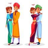 Vector cartoon indian couples hugging stock illustration