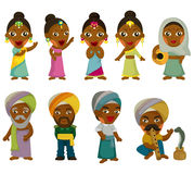 Vector of cartoon Indian icon set. Drawing Stock Image