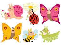 Vector Cartoon Insects Set, Insects Clipart Royalty Free Stock Images