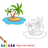 Vector cartoon island to be colored. Royalty Free Stock Images