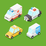 Vector Cartoon Isometric Cars Royalty Free Stock Photos