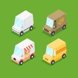 Vector Cartoon Isometric Minivans Royalty Free Stock Photography