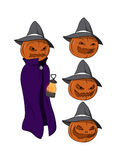 Vector cartoon - Jack o Lantern character. Halloween themed character Jack O Lantern, with a pumpkin head, hat, cape and floating lantern Royalty Free Stock Photo