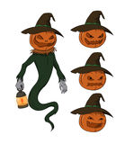 Vector cartoon - Jack o Lantern character. Halloween themed character Jack O Lantern, with a pumpkin head, hat, cape and floating lantern Stock Image