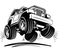 Vector cartoon jeep Royalty Free Stock Images