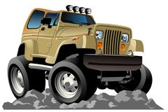 Vector cartoon jeep Royalty Free Stock Photos
