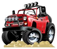 Vector cartoon jeep. Available ai-cs4 vector format separated by groups with transparency effects for one click repaint Stock Photo