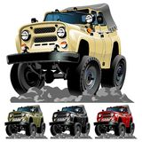 Vector cartoon jeep one-click repaint. Vector cartoon jeep. Available ai-10 vector format separated by groups with transparency effects for one-click repaint Stock Image