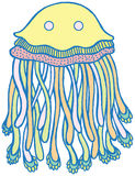 Vector cartoon jellyfish in pastel tumblr colors. Hand drawn vector  illustration. Graphic art with sea animal for design, stickers, tshirt, print Royalty Free Stock Image