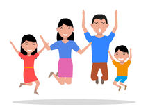 Vector cartoon jumping of happiness family Royalty Free Stock Image