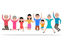 Vector cartoon jumping happy smiling people royalty free stock photo