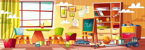 Vector cartoon kindergarten for children, playground room vector illustration