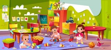Vector cartoon kindergarten, montessori. Infants play toys royalty free illustration