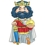 Vector cartoon king with a golden crown stock images