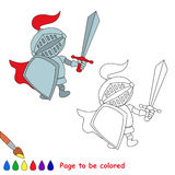 Vector cartoon knight to be colored. Stock Image