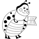 Vector Cute Cartoon Ladybug with Book. Ladybug Vector Illustration Royalty Free Stock Images