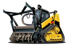 Vector Cartoon Land Clearing Mulcher Royalty Free Stock Image