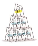 Cartoon Leadership and Cards Pyramid Stock Photos