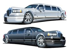 Vector Cartoon limousines set isolated on white royalty free illustration