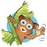 Vector cartoon little animal tarsier. Vector illustration cartoonish little animal tarsier waves his a welcoming hand royalty free illustration