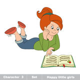 Vector cartoon little cute girl read the book. Hobby baby character. Game for children Stock Photo