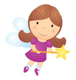 Vector cartoon little girl fairy with magic wand isolated on whi Royalty Free Stock Image