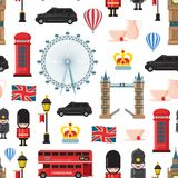 Vector cartoon London sights and objects background or pattern illustration stock illustration