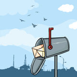 Vector Cartoon Mailbox at Day. Vector Cartoon Mailbox on Daytime Sky Background Royalty Free Stock Images