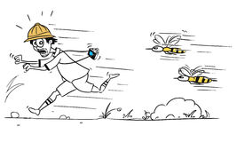 Vector Cartoon of Male Tourist Running Away from Large Bee or Wa Royalty Free Stock Photos