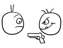 Vector Cartoon of Man Attacked Mugged by Criminal with Gun. Cartoon vector of man attacked mugged by criminal with hand gun pistol weapon Royalty Free Stock Images