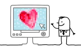 Cartoon Man with big Heart on Computer. Vector  Cartoon Man with big Heart on Computer Stock Photography