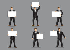 Vector Cartoon Man in Black Suit and Bow Tie Holding Sign Royalty Free Stock Photography