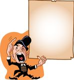 Man calling attention to page. Vector cartoon Man in bowler hat calling attention to large page with tattered corners Royalty Free Stock Photography