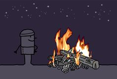Cartoon Man with a Burning Fire Outside. Vector Cartoon Man with a Burning Fire Outside Royalty Free Stock Photo