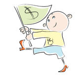 Vector Cartoon man carries a flag with a dollar Royalty Free Stock Photo