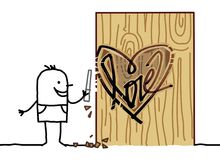 Cartoon Man Carving a Wood Heart. Vector Cartoon Man Carving a Wood Heart Stock Photo