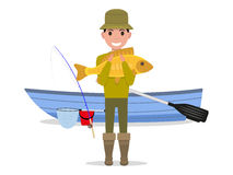 Vector cartoon man fisherman holding big fish. Vector illustration cartoon man fisherman holding big fish. Guy caught a big river fish on a boat. Flat style Royalty Free Stock Image