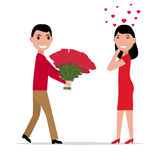 Vector cartoon man gives flowers to a woman. Vector illustration of a cartoon man gives flowers to a woman. Isolated white background. Flat style. Boyfriend Stock Photography