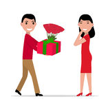 Vector cartoon man gives gift and flowers to woman. Vector illustration of a cartoon man gives gift and flowers to a woman. Isolated white background. Flat style Stock Image