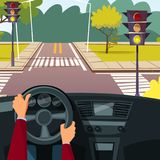 Vector cartoon man hands on car wheel. Driving vehicle on street crossroad background. Behind the steering wheel concept. Illustration with car interior stock illustration